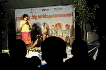 A packed audience watches the Comedy for Health troupe in Pursat Province, August, 2012